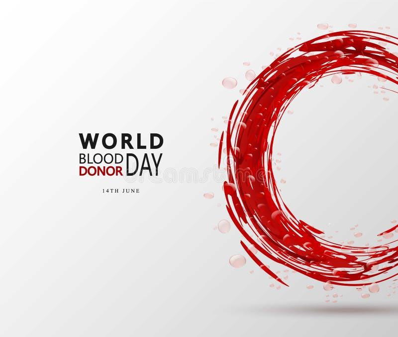 Kreatives Blutspend-Tagesmotivationsinformations-Spenderplakat Vector Illustration des Donate Blutkonzeptes für Welt lizenzfreie abbildung