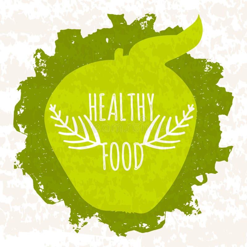 Kreatives buntes grünes Plakat für die Logos, Online-Shops und Supermärkte, die natürliche Biokost verkaufen und Ergänzungen loka lizenzfreie abbildung