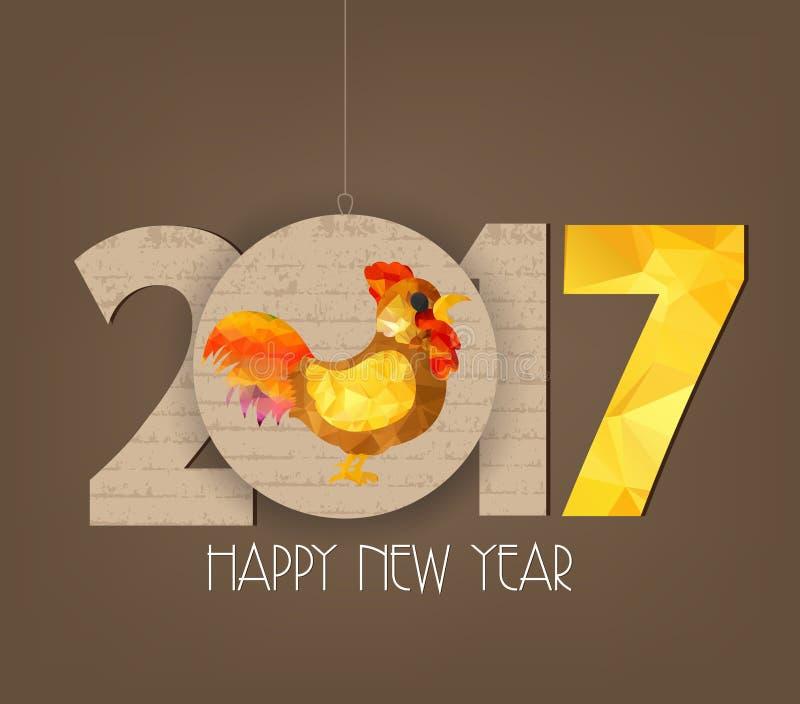 Kreatives chinesisches polygonales Hahndesign des neuen Jahres 2017 stock abbildung