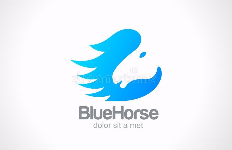 Kreatives DES des Logo Horse-Schattenbildzusammenfassungs-Vektors lizenzfreie abbildung
