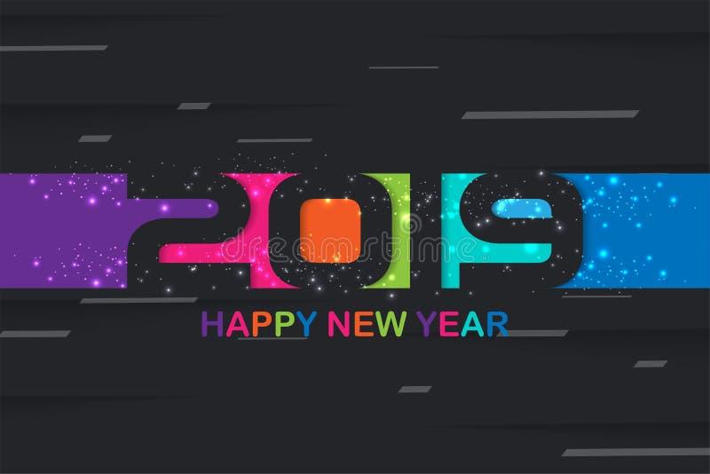 Kreatives Design des bunten Hintergrundes von 2019 guten Rutsch ins Neue Jahr für Ihre Grußkarte, Flieger, Poster, Broschüre, Fah stockfoto