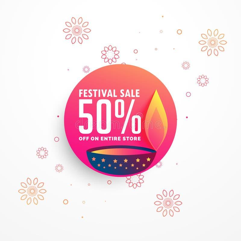 Kreatives diwali Verkaufs-Fahnendesign mit brennendem diya vektor abbildung