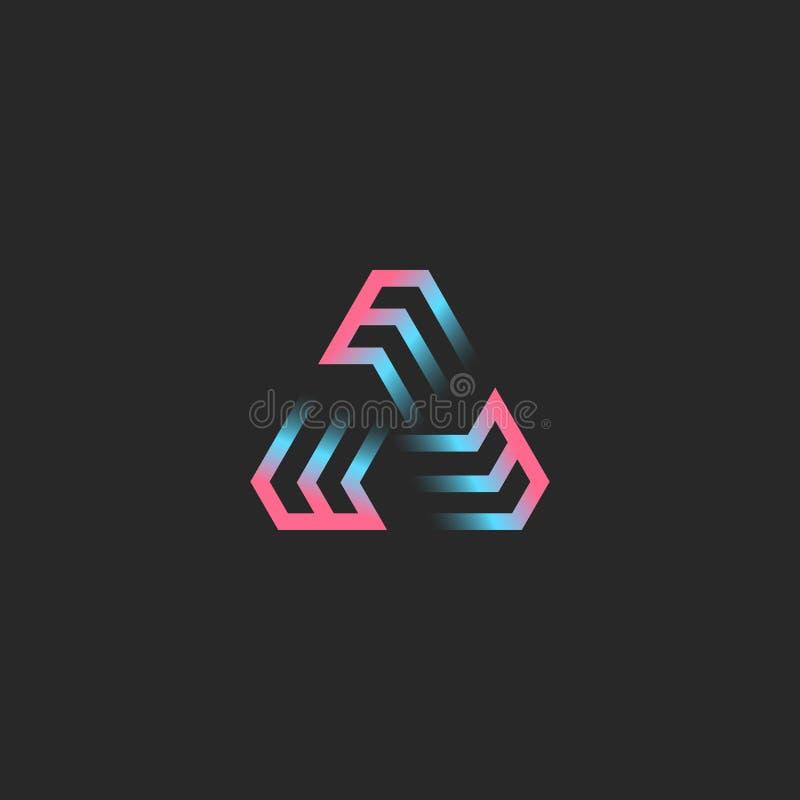 Kreatives dreieckiges Logo gebildet durch drei Buchstaben EEE, moderne Tendenzsteigung der futuristischen geometrischen Rahmenfor stock abbildung