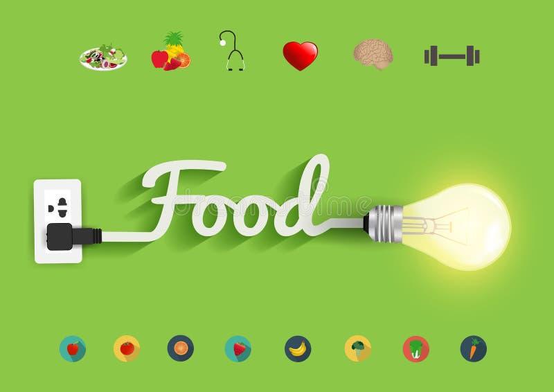 Kreatives Glühlampedesign des Vektorlebensmittelideenkonzeptes lizenzfreie abbildung