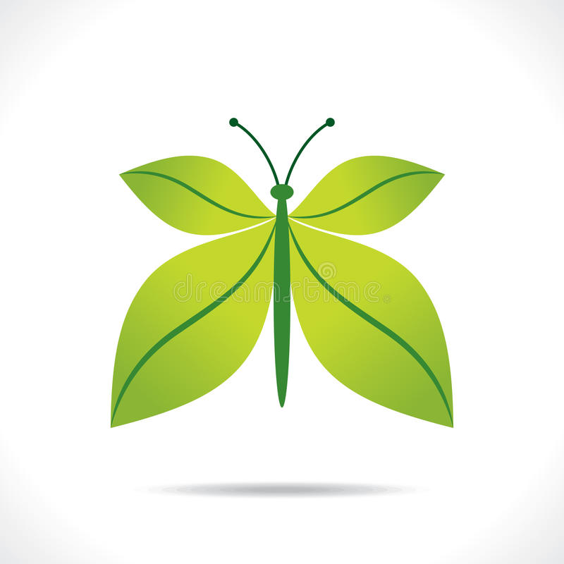 Kreatives grünes Blattschmetterlings-Konzept des Entwurfes stock abbildung