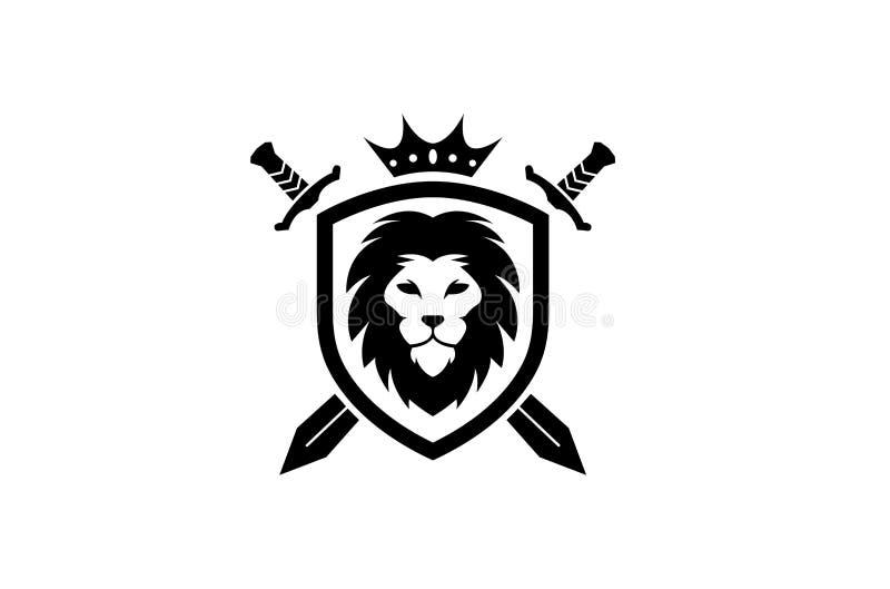 Kreatives heraldisches schwarzes Lion Head Crown King Swords-Schild Logo Design Symbol Vector Illustration lizenzfreie abbildung
