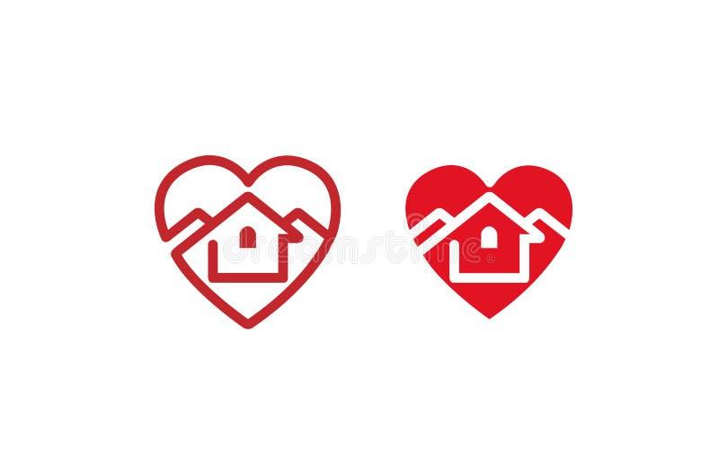 Kreatives Herz-Haus-Design-Logo stockfoto