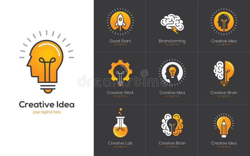 Kreatives Ideenlogo stellte mit menschlichem Kopf, Gehirn, Glühlampe ein stock abbildung