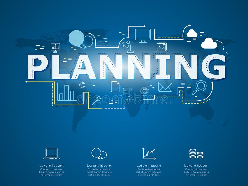 Kreatives infographic der Unternehmensplanung mit Weltkarte stock abbildung