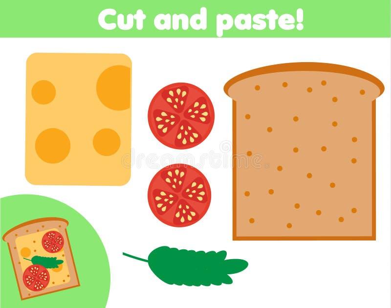 Kreatives Kinderlernspiel Papierschnitttätigkeit Machen Sie ein sanwich mit Kleber und Scheren lizenzfreie abbildung