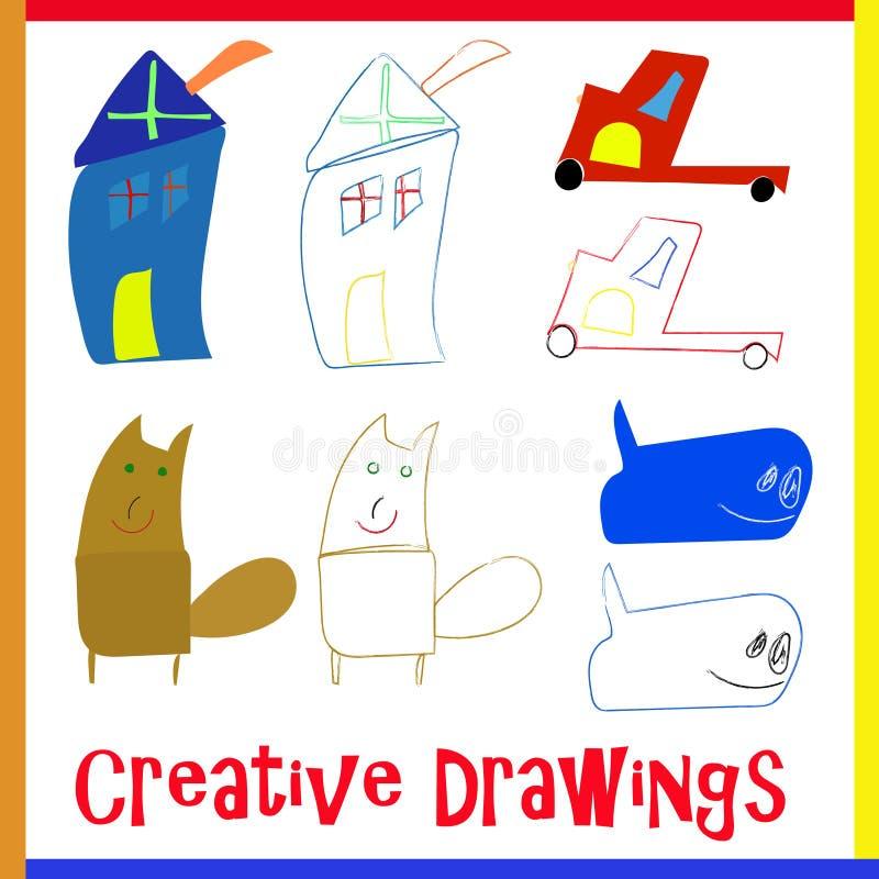 4 kreatives Kinderzeichnende Vektoren lizenzfreie abbildung