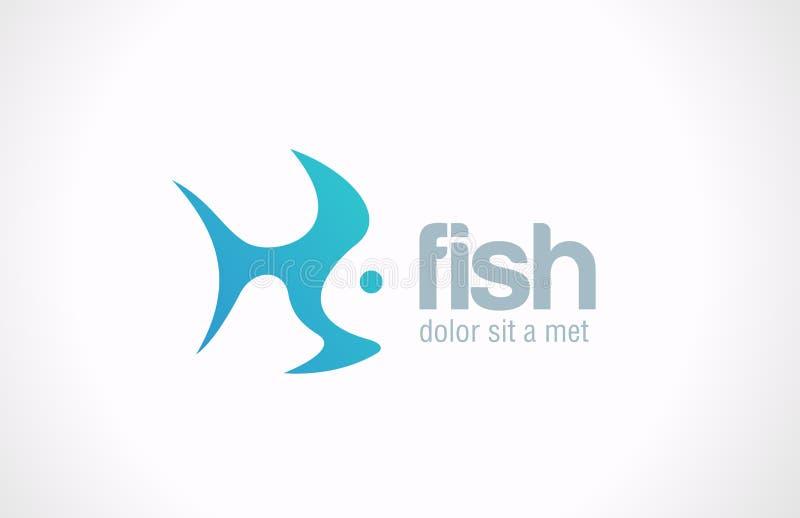 Kreatives Konzept des Entwurfes des Logo Fish-Zusammenfassungsvektors. lizenzfreie abbildung