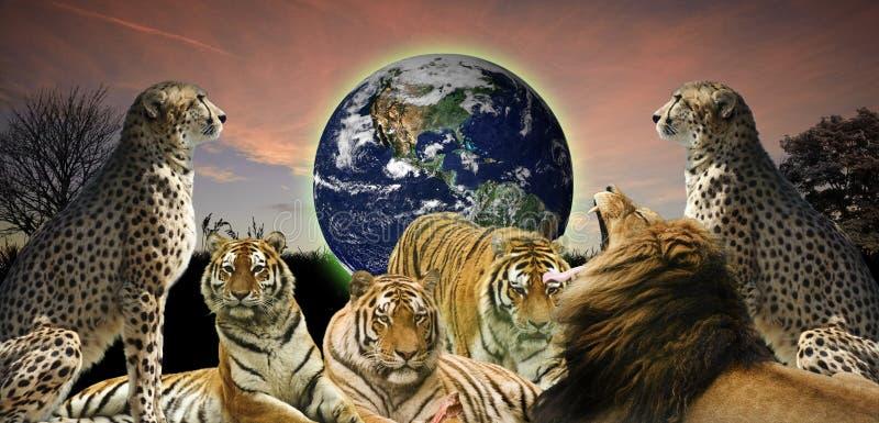 Kreatives Konzept des schützenden Planeten der wild lebenden Tiere stockbild