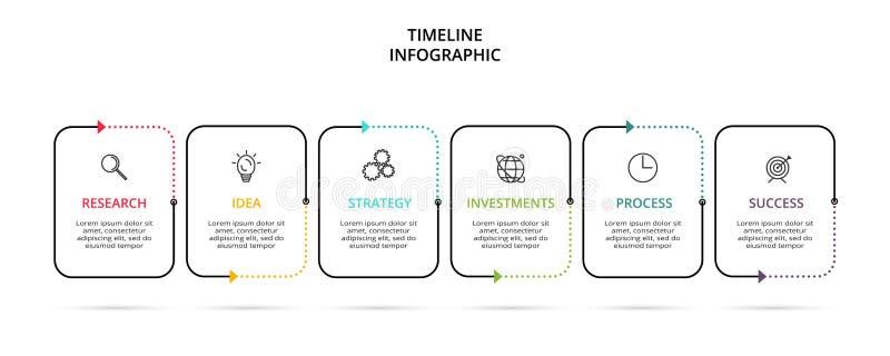 Kreatives Konzept für infographic mit 6 Schritten, Wahlen, Teilen oder Prozessen Sichtbarmachung der kommerziellen Daten Vektorge vektor abbildung