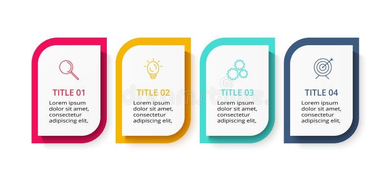 Kreatives Konzept f?r infographic mit 4 Schritten, Wahlen, Teilen oder Prozessen Vektorgesch?ftsschablone f?r Darstellung lizenzfreie abbildung