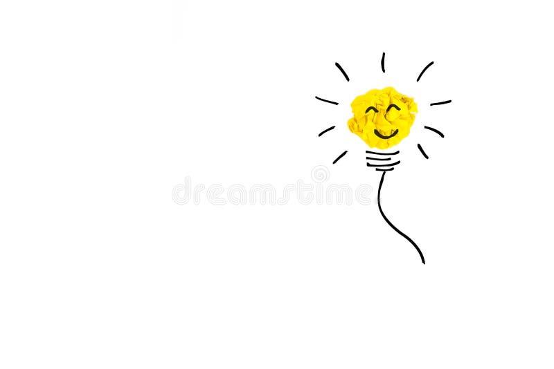 Kreatives Konzept Gelbe Glühlampe gemacht vom Gelb zerknittert, Brei vektor abbildung