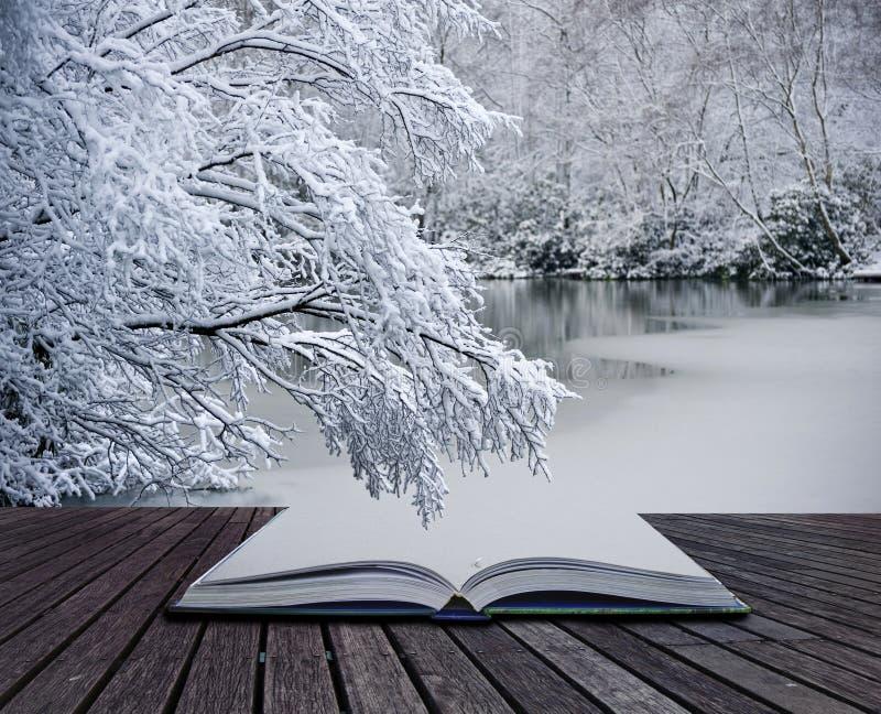 Kreatives Konzept Winterlandschaftsmagiebuch lizenzfreie stockfotografie