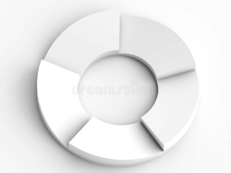 Kreatives Kreisflussdiagramm im weißen Hintergrund lizenzfreie abbildung