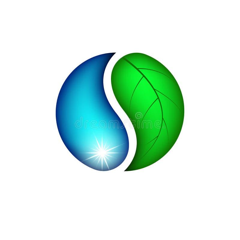 Kreatives Kugellogo, Tropfenwasser und Blattanlage, Modell Eco-Emblem, Sicherungstag der erde-Ikone stock abbildung