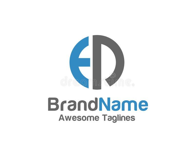 Kreatives Logo des Buchstaben ED mit Kreisgestaltungselementen vektor abbildung