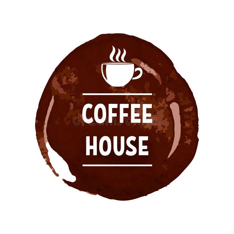 Kreatives Logo für Kaffeehaus mit Druckbeschriftung auf dunkelbraunem Fleck mit weißer Schale vektor abbildung