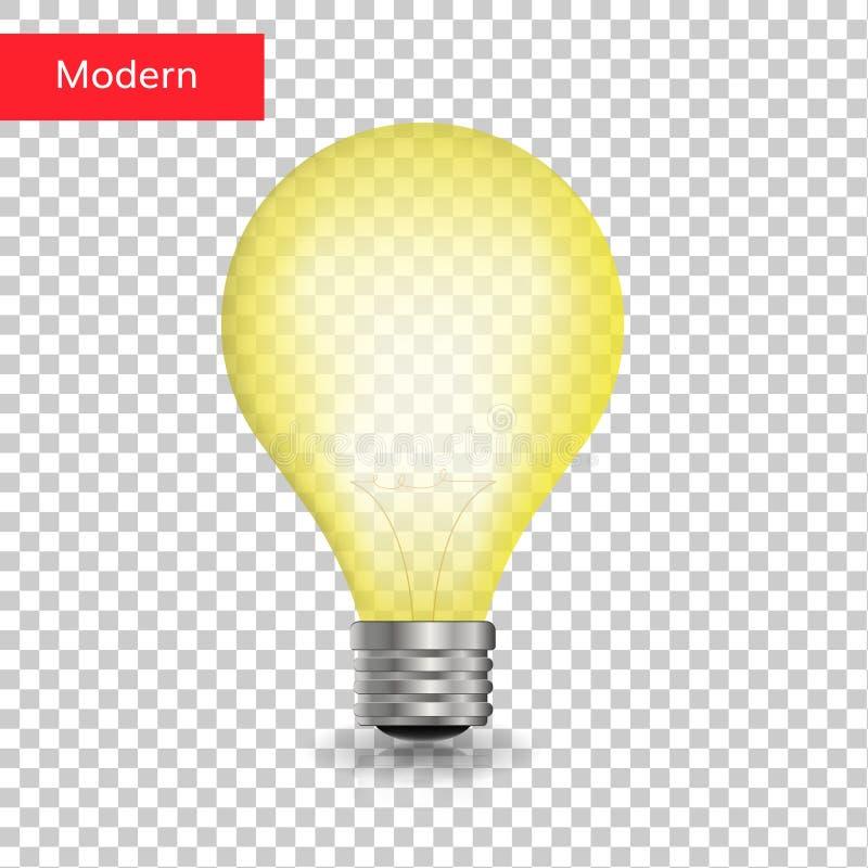 Kreatives lokalisiertes transparentes der Glühlampe stock abbildung