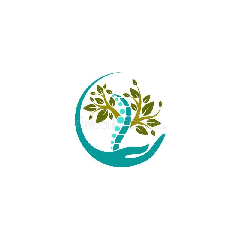 Kreatives medizinisches Chiropraktik-Konzept Logo Design Template Vektorlogoschablone Menschlicher Dorn lokalisierte Schattenbild lizenzfreie abbildung