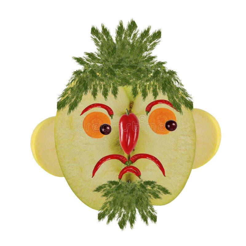 Kreatives Nahrungsmittelkonzept Lustiges Porträt gemacht von den Äpfeln, Gemüse lizenzfreie abbildung