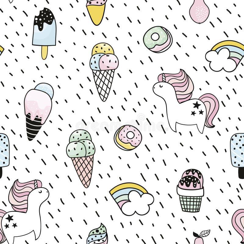 Kreatives nahtloses Muster mit Einhorn, Donut, Eiscreme, Regenbogen Kindischer Hintergrund des Gekritzels Auch im corel abgehoben vektor abbildung