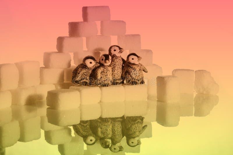 Kreatives Schießen von Zuckerwürfeln und -Pinguinen lizenzfreies stockbild