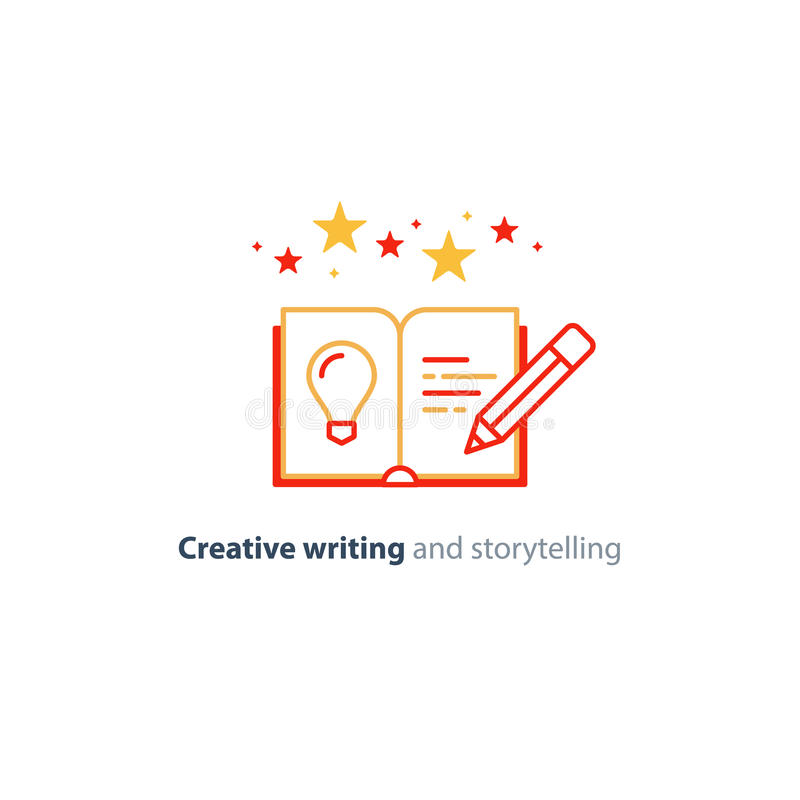 Kreatives Schreiben, Geschichtenerzählenidee, Buchseite und lineare Ikonen des Bleistifts vektor abbildung