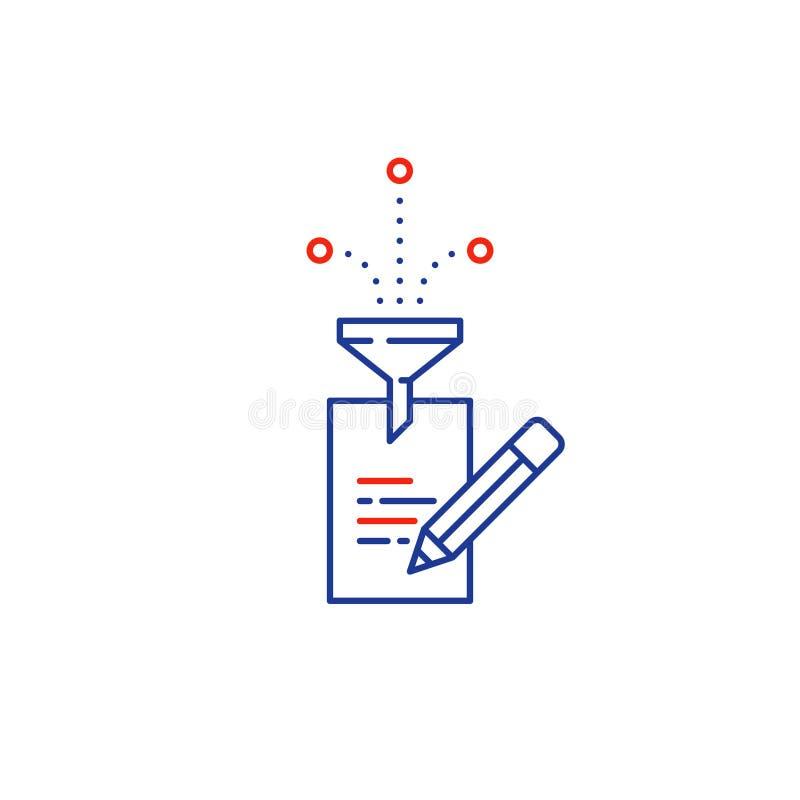 Kreatives Schreiben, Geschichtenerzählenidee, Papierseite und lineare Ikonen des Bleistifts vektor abbildung