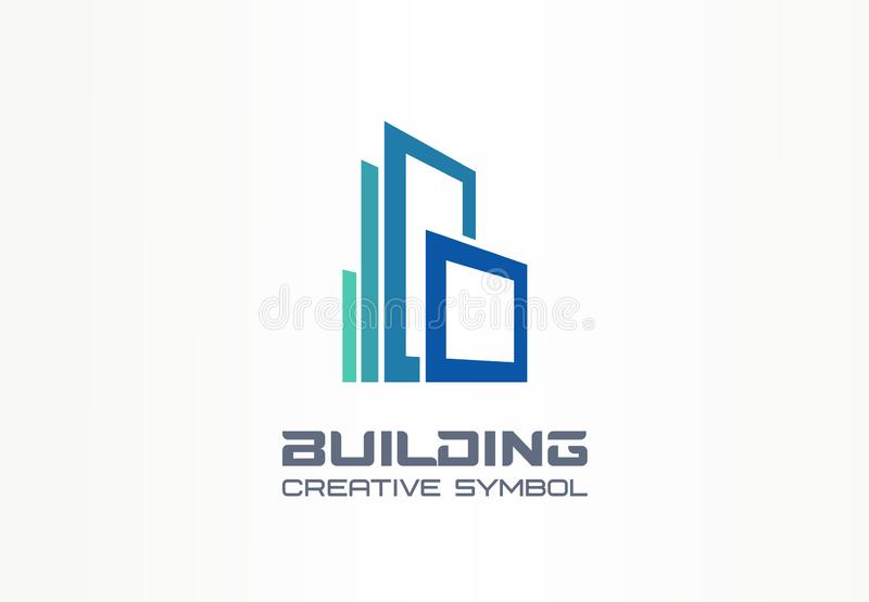 Kreatives Symbolkonzept des Bürogebäudes Moderner Wolkenkratzer, 3d Architekt, Bauschattenbildzusammenfassungs-Geschäftslogo lizenzfreie abbildung