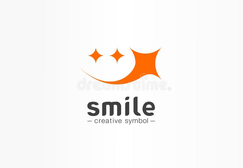 Kreatives Symbolkonzept des Goldlächelns Smileystern, Güte emoji, glückliches Gesicht, Zirkuszusammenfassungs-Geschäftslogo Spaßp stock abbildung