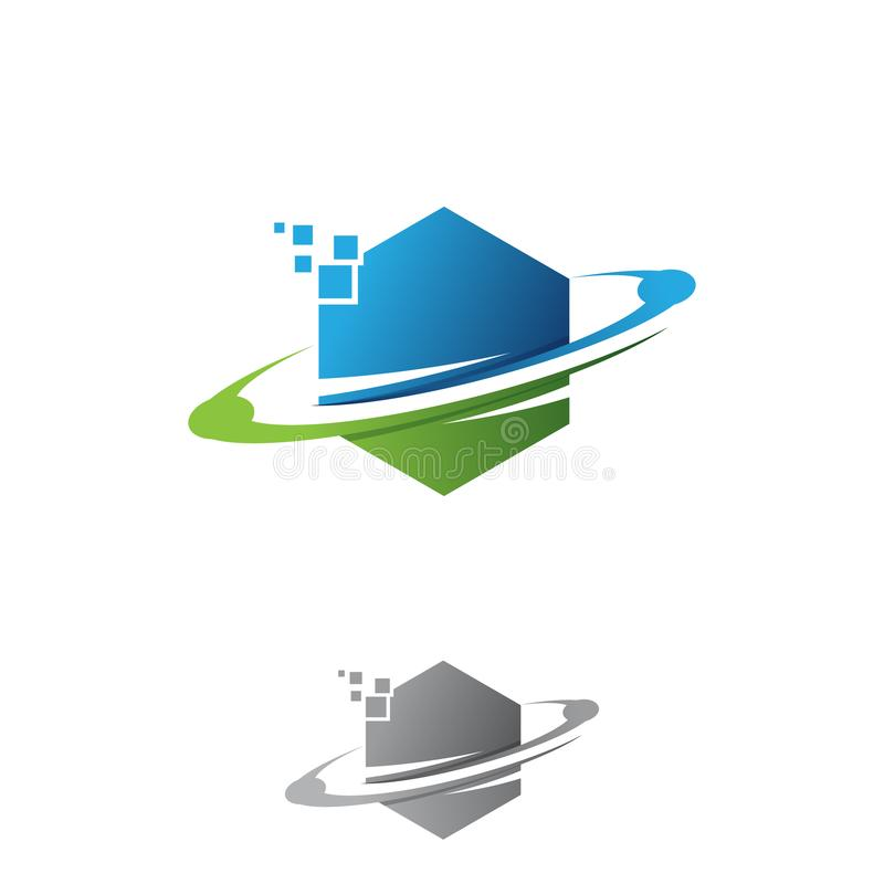 Kreatives Technologiebahnnetzringlogoform-Hexagondesign lizenzfreie abbildung
