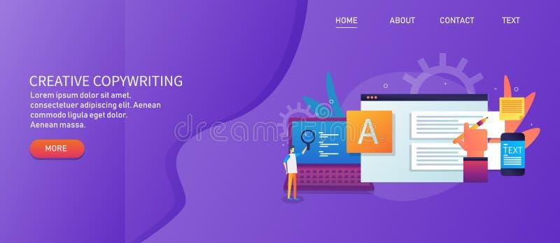 Kreatives Texten, zufriedene Schaffung, Handbehälter für das Schreiben des Artikels, digitales bloggendes Konzept vektor abbildung