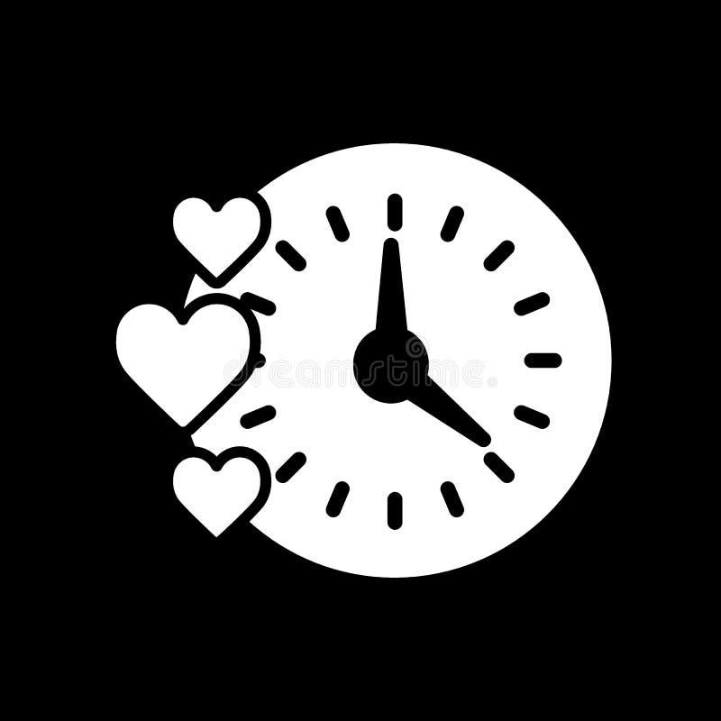 Kreatives Uhrherzdesign Einfache Linie Körperillustration Lokalisiert auf Schwarzem stock abbildung