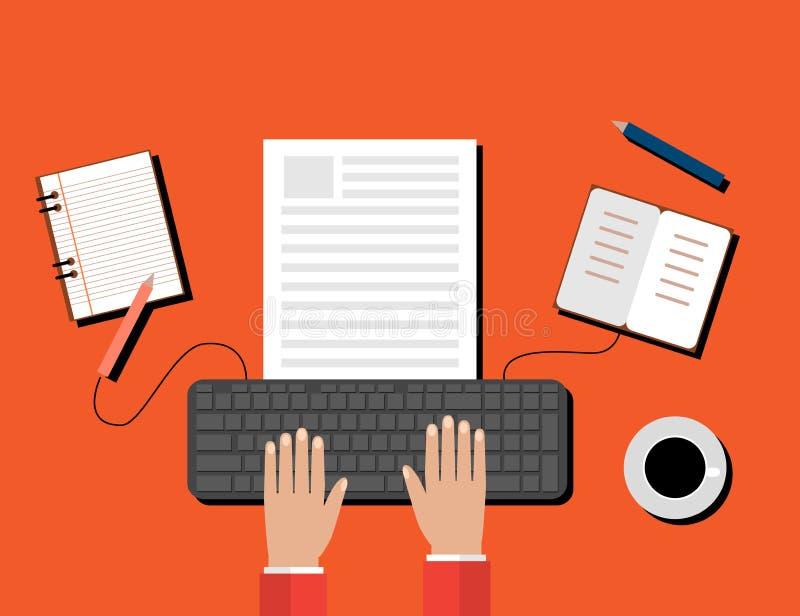 Kreatives zufriedenes Schreiben, Blogging Beitrag, Digital-Medien-flache Illustration vektor abbildung