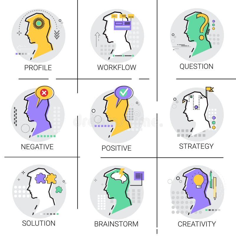 Kreativität denkt, dass neuer Ideen-Geistesblitz-kreativer Prozessgeschäfts-Arbeitsfluß Ikonen-Satz genehmigen lizenzfreie abbildung