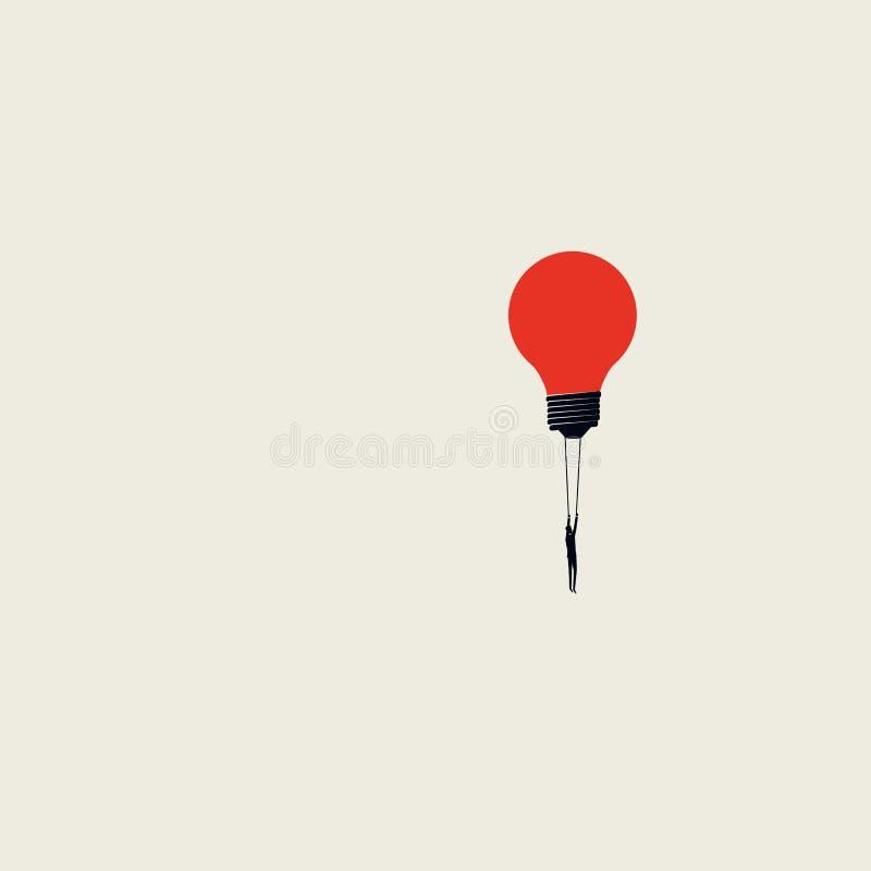 Kreativität im Geschäftsvektorkonzept mit Geschäftsmannfliegen mit Glühlampe Unbedeutende Kunstart Symbol der Innovation stock abbildung