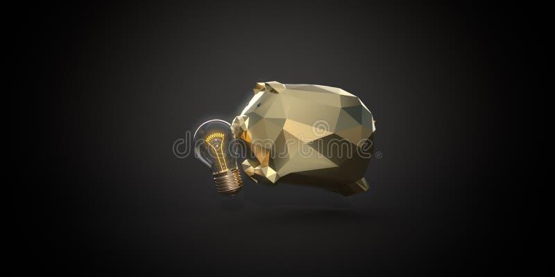 Kreativität kann Geld verdienen Goldenes Sparschwein frisst Glühbirne 3D-Darstellung stockfotos
