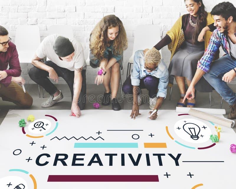 Kreativitäts-Ideen-Design-Erfindungs-Grafik-Konzept stockfotografie