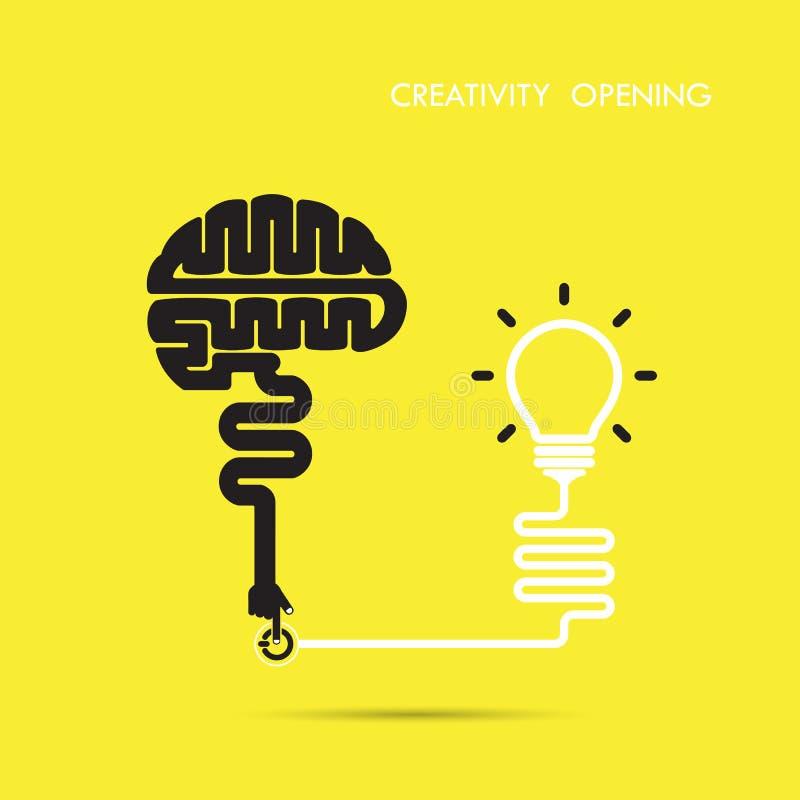 Kreativitätsgehirn-Öffnungskonzept Kreativer Gehirnzusammenfassungsvektor stock abbildung