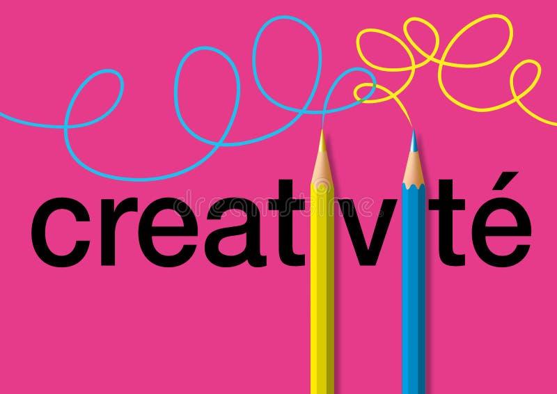 Kreativitätskonzept mit für dem Symbol mit zwei Bleistiften, das helle Farbanschläge nachvollzieht lizenzfreie abbildung