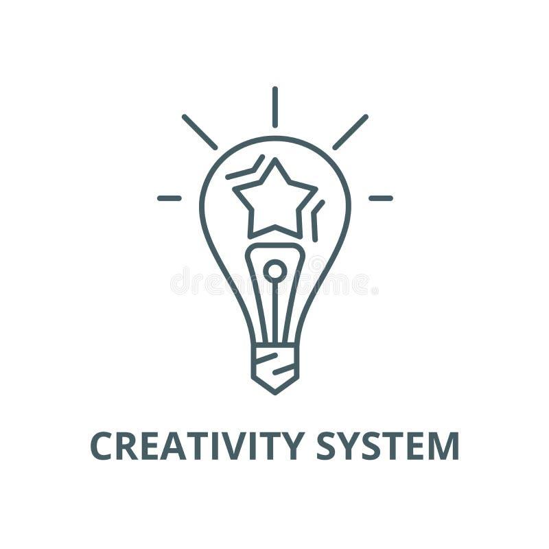 Kreativitätssystem-Vektorlinie Ikone, lineares Konzept, Entwurfszeichen, Symbol vektor abbildung
