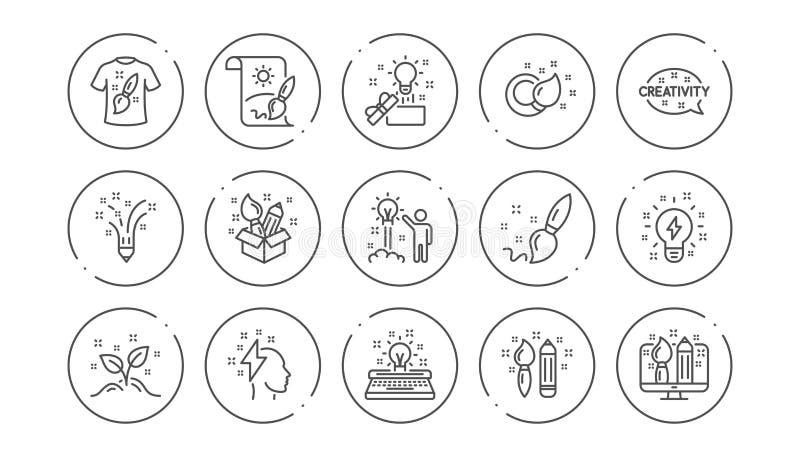 Kreativit?tslinie Ikonen Kreativer Designer, Idee und Inspiration Linearer Ikonen-Satz Vektor stock abbildung
