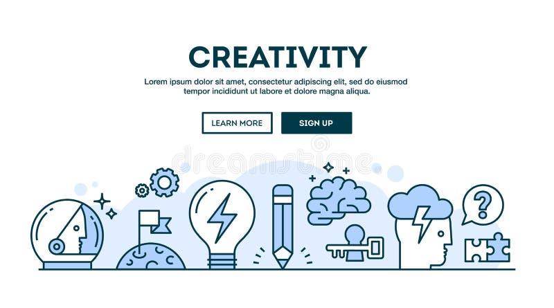 Kreativitet begreppstitelrad, tunn linje stil för lägenhetdesign royaltyfri illustrationer