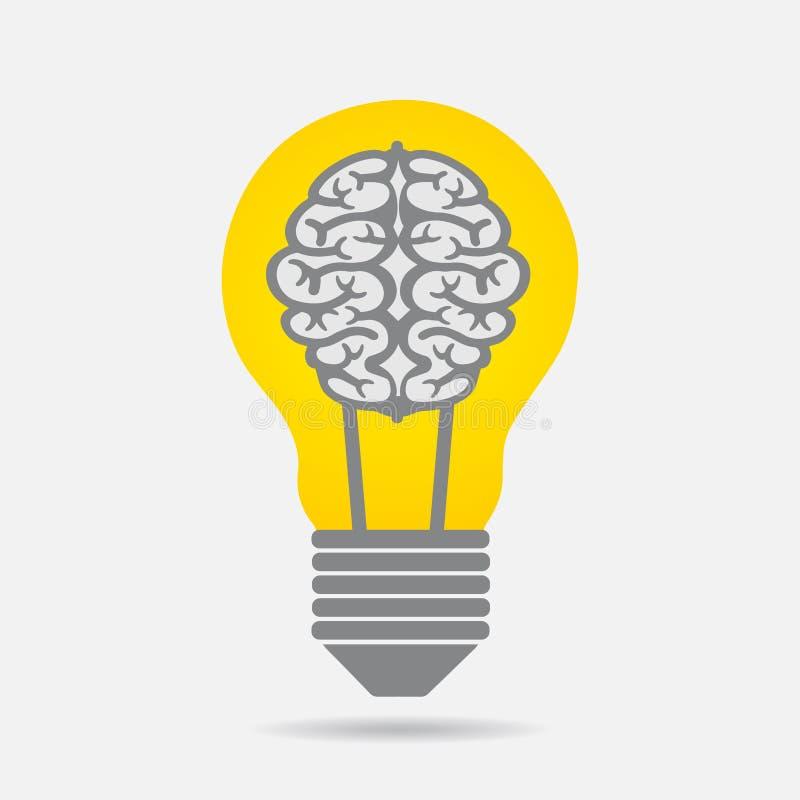 Kreativitet Brain Idea Logo Illustration vektor illustrationer