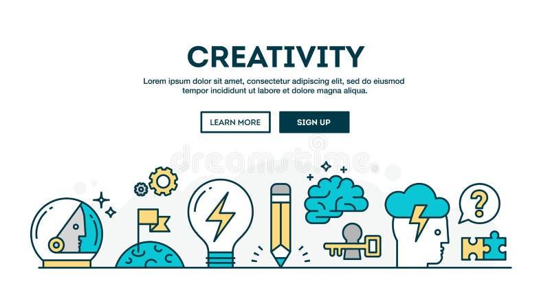 Kreativitet färgrik begreppstitelrad, tunn linje stil för lägenhetdesign royaltyfri illustrationer