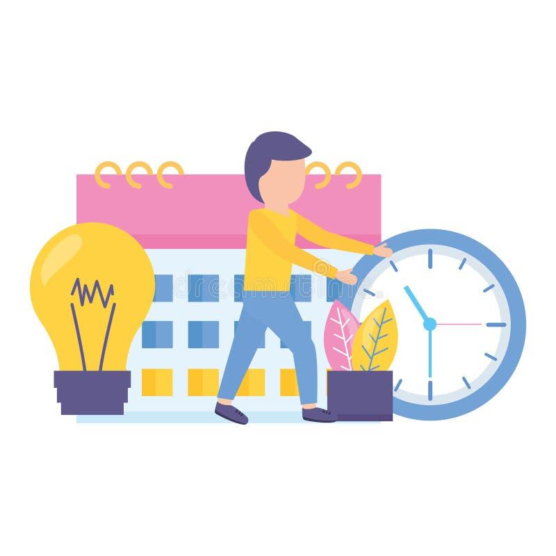 Kreativitet för affärsmanklockakalender royaltyfri illustrationer